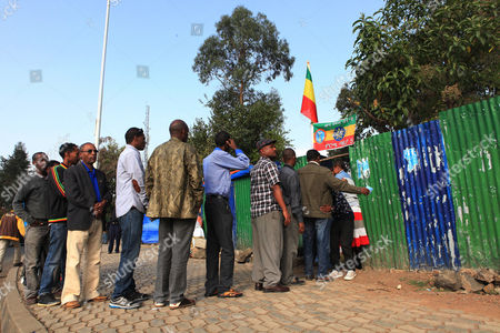 Male Residents Queue For the Ethiopian Presidential Elections at the Bole Subcity Polling Station in the Capital Addis Ababa Ethiopia 24 May2015 the Elections Are the First Since Since the Death of Prime Minister Meles Zenawi and It is Expected That His Successor Hailemariam Desalegn is Certain to Stay in Office an Estimated 37 Million People Are Thought to Vote Today Ethiopia Addis Ababa