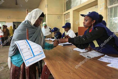 A Woman Has Her Finger Marked at the 'Kechene Medianealem' Church in the Ethiopian Presidential in the Capital Addis Ababa Ethiopia 24 May2015 the Elections Are the First Since Since the Death of Prime Minister Meles Zenawi and It is Expected That His Successor Hailemariam Desalegn is Certain to Stay in Office an Estimated 37 Million People Are Thought to Vote Today Ethiopia Addis Ababa