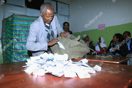 A Photo Made Available 25 May 2015 of an Ethiopian Election Officer Emptying a Ballot Box Before Counting Votes at the Bole Subcity Polling Station in the Capital Addis Ababa Ethiopia Late 24 May2015 the Elections Are the First Since the Death of Prime Minister Meles Zenawi and It is Expected That His Successor Hailemariam Desalegn Will Stay in Office Nearly 37 Million People of a Population of 94 Million Had Registered to Vote in the Elections Which Featured 58 Parties Ethiopia Addis Ababa