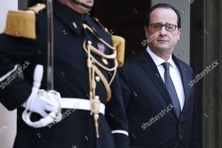 French President Francois Hollande (r) Waits For 'La Francophonie' the French-speaking Countries' General Secretary Michaelle Jean (unseen) Arriving For a Meeting at the Elysee Palace in Paris France 18 February 2015 the Haiti-born Canadian Journalist and Former Governor General of Canada Succeeded 'Francophonie' General Secretary Abdou Diouf As the Third Secretary-general of the 'Organisation Internationale De La Francophonie' in January 2015 France Paris