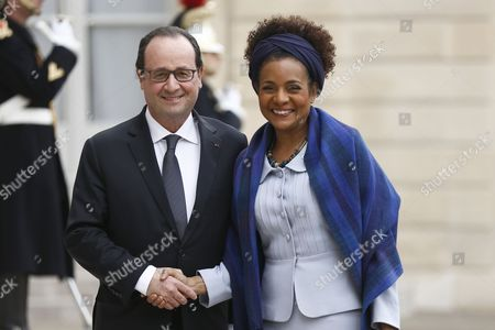 French President Francois Hollande (2-l) Poses with 'La Francophonie' the French-speaking Countries' General Secretary Michaelle Jean (l) As She Arrives For a Meeting at the Elysee Palace in Paris France 18 February 2015 the Haiti-born Canadian Journalist and Former Governor General of Canada Succeeded 'Francophonie' General Secretary Abdou Diouf As the Third Secretary-general of the 'Organisation Internationale De La Francophonie' in January 2015 France Paris