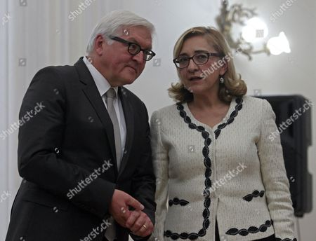 German Foreign Minister Frank-walter Steinmeier (l) Speaks with His Georgian Counterpart Tamar Beruchashvili (r) During Their Meeting in Tbilisi Georgia 08 December 2014 Frank-walter Steinmeier is on a Working Visit to Georgia Georgia Tbilisi