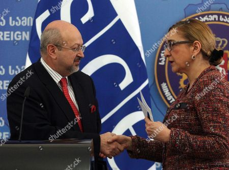 Georgian Foreign Minister Tamar Beruchashvili (r) Shakes Hands with Secretary General of the Organization For Security and Cooperation in Europe (osce) Lamberto Zannier (l) During a Press Conference in Tbilisi Georgia 09 March 2015 Lamberto Zannier is on an Official Visit to Georgia Georgia Tbilisi