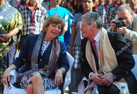 German President Joachim Gauck (r) and His Partner Daniela Schadt (l) Are Pictured During Their Visit to Kendriya Vidayalaya M E G & Centre School in Bangalore India 08 February 2014 Gauck is in India on a Six-day State Visit India Bangalore
