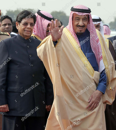 A File Picture Dated 26 February 2014 Shows Salman Bin Abdulaziz Al Saud (r) Crown Prince Minister of Defence and Deputy Prime Minister of the Kingdom of Saudi Arabia Waves Towards Media Personnel As He Arrives at the Airport in New Delhi India Saudi State Tv Has Announced on 22 January 2015 That Saudi King Abdullah Bin Abdul Aziz who was Admitted to a Hospital in Riyadh with Pneumonia Has Died and Named Salman Bin Abdulaziz Al-saud As His Successor India New Delhi