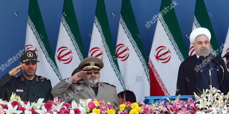 Stock Photo of Iranian President Hassan Rouhani (r) Revolutionary Armed Forces Chief Hasan Firouzabadi (2-l) and Iranian Defence Minister Hossein Dehghan (l) Attend a Ceremony Marking the Annual 'National Army Day' in Tehran Iran 18 April 2015 Rowhani Described the Military Attacks on Yemen As a 'Disgrace' For Saudi Arabia Iran ( Islamic Republic Of) Tehran