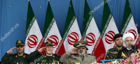 Iranian President Hasaan Rowhani (r) Revolutionary Armed Forces Chief Hasan Firouzabadi (c) Former Revolutionary Guard Commander Rahim Safavi (2-l) and Iranian Defence Minister Hossein Dehghan (l) Attend a Ceremony Marking the Annual National Army Day in Tehran Iran 18 April 2014 Rowhani in His Speech Said That Iran was not After Any War Or Military Confrontations But After Logical Talks For Settling the Disputes This Approach He Said Would Also Include the Political Arch-enemy Usa Iran ( Islamic Republic Of) Tehran