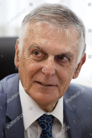 Nobel Laureate in Chemistry Professor Dan Shechtman in His Office in the Israeli 'Knesset' Parliament in Jerusalem Israel 09 June 2014 Dan Shechtman is One of the Candidates For the Upcoming Israeli Presidential Election to Be Held on 10 June 2014 Israel Jerusalem