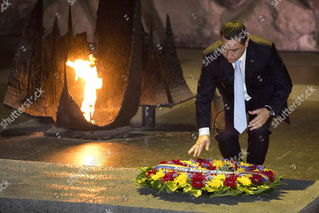 The Prime Minister of Romania Victor-viorel Ponta Lays a Wreath in the Hall of Remembrances in the Yad Vashem Holocaust Memorial in Jerusalem Israel 24 June 2014 As He Honors the Six-million Jews who Perished at the Hands of the Nazis During the Holocaust of World War Ii Israel Jerusalem