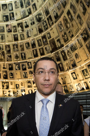 The Prime Minister of Romania Victor-viorel Ponta Looks Around in the Hall of Names in the Yad Vashem Holocaust Memorial in Jerusalem Israel 24 June 2014 As He Honors the Six-million Jews who Perished at the Hands of the Nazis During the Holocaust of World War Ii Israel Jerusalem