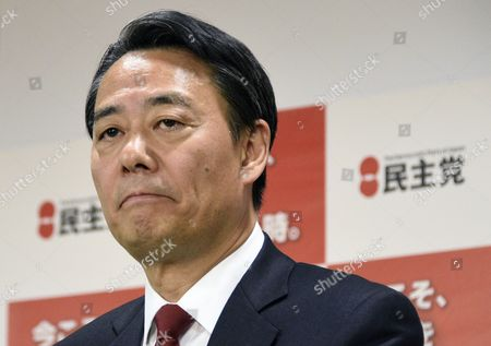 Democratic Party of Japan (dpj) Leader Banri Kaieda Reacts During a Press Conference at the Party's Headquarters in Tokyo Japan 15 December 2014 Main Opposition Party Leader Banri Kaieda Officially Announced He is Steping Down After He Lost His Seat in the 14 December Elections Japan Tokyo