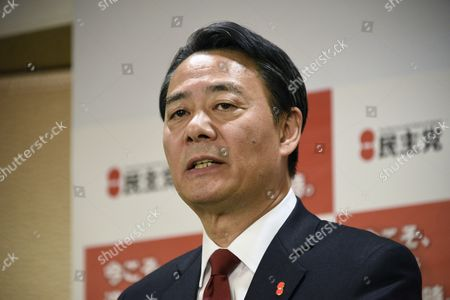 Democratic Party of Japan (dpj) Leader Banri Kaieda Speaks During a Press Conference at the Party's Headquarters in Tokyo Japan 15 December 2014 Main Opposition Party Leader Banri Kaieda Officially Announced He is Steping Down After He Lost His Seat in the 14 December Elections Japan Tokyo