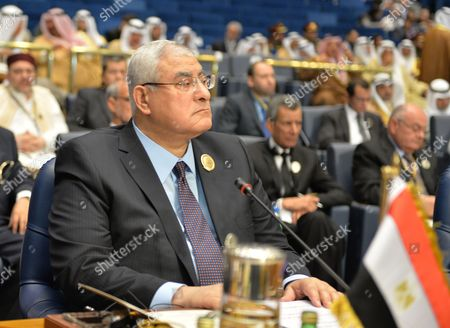 Egypt's Interim President Adly Mansour Attends the Closing Session of the Arab Summit in Kuwait City Kuwait 26 March 2014 Arab Leaders on 26 March Said They Are Committed to Supporting Arab States Going Through Democratic Transitions and Healing Relations Among the Arab Countries to End Divisions Kuwait Kuwait City