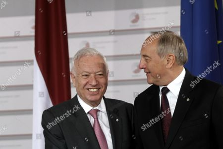 Latvian President Andris Berzins (r) Welcomes Spanish Foreign Minister Jose Manuel Garcia Margallo Before Working Dinner For the Heads of Delegation on the Occasion of the Eastern Partnership Summit Hosted by the President of Latvia in Blackheads' House Riga Latvia 21 May 2015 Latvia Riga