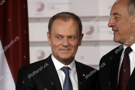 Latvian President Andris Berzins (r) Welcomes President of the European Council Donald Tusk Before Working Dinner For the Heads of Delegation on the Occasion of the Eastern Partnership Summit Hosted by the President of Latvia in Blackheads' House Riga Latvia 21 May 2015 Latvia Riga