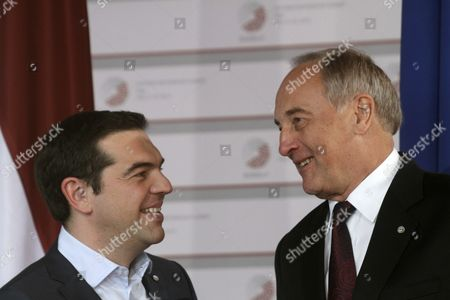 Latvian President Andris Berzins (r) Welcomes Prime Minister of Greece Alexis Tsipras (l) Before a Working Dinner For the Heads of Delegation on the Occasion of the Eastern Partnership Summit Hosted by the President of Latvia in Blackheads' House Riga Latvia 21 May 2015 Latvia Riga