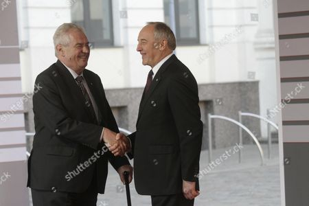 Latvian President Andris Berzins (r) Welcomes President of the Czech Republic Milos Zeman (l) Before a Working Dinner For the Heads of Delegation on the Occasion of the Eastern Partnership Summit Hosted by the President of Latvia in Blackheads' House Riga Latvia 21 May 2015 Latvia Riga