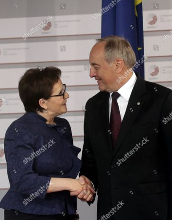 Latvian President Andris Berzins (r) Welcomes Prime Minister of the Republic of Poland Ewa Kopacz (l) Before a Working Dinner For the Heads of Delegation on the Occasion of the Eastern Partnership Summit Hosted by the President of Latvia in Blackheads' House Riga Latvia 21 May 2015 Latvia Riga