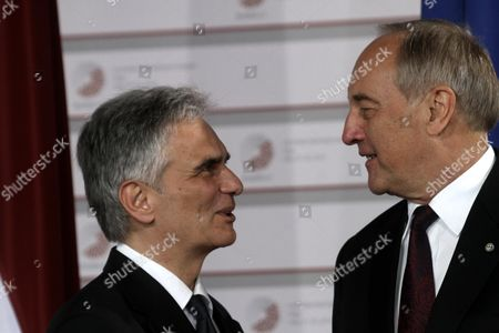 Latvian President Andris Berzins (r) Welcomes Federal Chancellor of Austria Werner Faymann Before a Working Dinner For the Heads of Delegation on the Occasion of the Eastern Partnership Summit Hosted by the President of Latvia in Blackheads' House Riga Latvia 21 May 2015 Latvia Riga