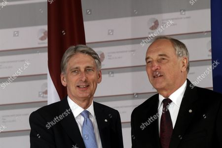 Latvian President Andris Berzins (r) Welcomes Uk Secretary of State For Foreign and Commonwealth Affairs Philip Hammond Before a Working Dinner For the Heads of Delegation on the Occasion of the Eastern Partnership Summit Hosted by the President of Latvia in Blackheads' House Riga Latvia 21 May 2015 Latvia Riga