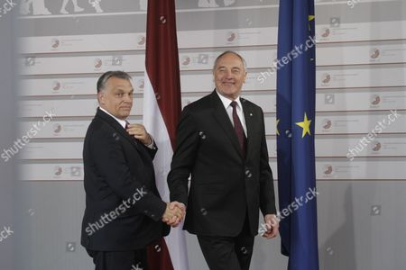 Latvian President Andris Berzins (r) Welcomes Prime Minister of Hungary Viktor Orban (l) Before a Working Dinner For the Heads of Delegation on the Occasion of the Eastern Partnership Summit Hosted by the President of Latvia in Blackheads' House Riga Latvia 21 May 2015 Latvia Riga
