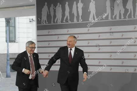 Latvian President Andris Berzins (r) Welcomes President of the European Commission Jean-claude Juncker (l) Before a Working Dinner For the Heads of Delegation on the Occasion of the Eastern Partnership Summit Hosted by the President of Latvia in Blackheads' House Riga Latvia 21 May 2015 Latvia Riga