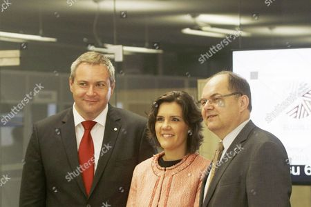 Slovenian Minister of Agriculture Forestry and Food Dejan Zidan (l) Portugal Minister of Agriculture and Sea Assuncao Cristas and German Minister of Food and Agriculture Christian Schmidt During Informal Agriculture and Fisheries Council in Riga Latvia 2 June 2015 Latvia Riga