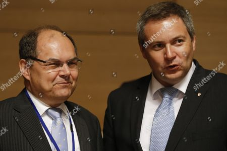 German Minister of Food and Agriculture Christian Schmidt (l) and Slovenian Minister of Agriculture Forestry and Food Dejan Zidan (r) at the Start of an Agriculture and Fisheries Council Meeting in Luxembourg 16 June 2015 Luxembourg Luxembourg