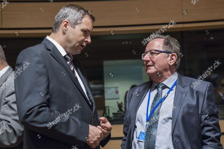 Slovenian Minister of Agriculture Forestry and Food Dejan Zidan (l) Chats with Luxembourg Agriculture Minister Fernand Etgen (r) Prior to the Eu Luxembourg Agriculture and Fisheries Council at the Eu Headquarters in Luxembourg 16 June 2014 Ministers Will Discuss on the Report on the Fruit and Vegetable Sector Since the 2007 Reform Also They Will Exchange Their View on the Implementation of the Common Fisheries Policy Luxembourg Luxembourg