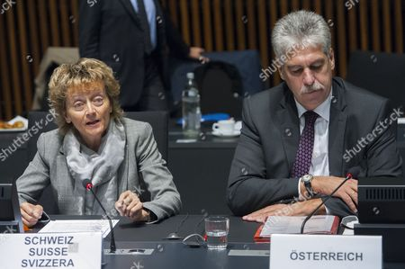 Swiss Finance Minister Eveline Widmer-schlumpf (l) Adresses the Eu Ministers As Austrian Finance Minister Hans Jorg Schelling (r) Listens During the Luxembourg Eu Ecofin Finance Ministers Meeting at Eu Headquarters in Luxembourg 14 October 2014 the Ministers Will Discuss Financial Supervision Regulation Sustainable Growth and Employment Eu Member States and Switzerland Are Expected to Sign a Joint Statement on Business Taxation Luxembourg Luxembourg
