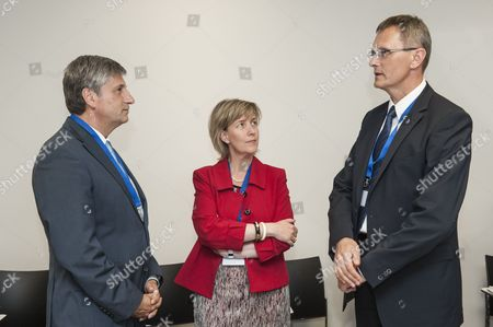 Austrian Finance Minister Michael Spindelegger (l) Chats with Portuguese Finance Minister Maria Luis Albuquerque (c) and Latvian Finance Minister Andris Vilks (r) Prior to the European Stability Mechanism (esm) Board of Governors Meeting in Luxembourg Luxembourg 19 June 2014 the Eurozone Finance Ministers Are to Meet in Luxembourg to Discuss Europe's Financial Situation Luxembourg Luxembourg