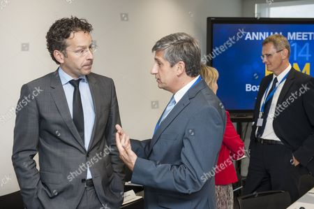Eurogroup President and Dutch Finance Minister Jeroen Dijsselbloem (l) Chats with Austrian Finance Minister Michael Spindelegger (c) Prior to the European Stability Mechanism (esm) Board of Governors Meeting in Luxembourg Luxembourg 19 June 2014 the Eurozone Finance Ministers Are to Meet in Luxembourg to Discuss Europe's Financial Situation Luxembourg Luxembourg