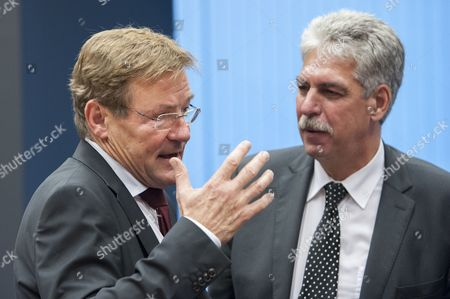 Belgian Minister of Finance Johan Van Overtveldt (l) Chats with Austrian Finance Minister Hans Jorg Schelling Prior to the Luxembourg Eu Eurogroup Finance Ministers Meeting at Eu Headquarters in Luxembourg 13 October 2014 the Ministers Will Discuss on Cyprus' and Greece's Economic Adjustment Programmes Luxembourg Luxembourg