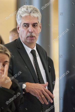 Austrian Finance Minister Hans Jorg Schelling Arrives Prior to the Luxembourg Eu Eurogroup Finance Ministers Meeting at Eu Headquarters in Luxembourg 13 October 2014 the Ministers Will Discuss on Cyprus' and Greece's Economic Adjustment Programmes Luxembourg Luxembourg