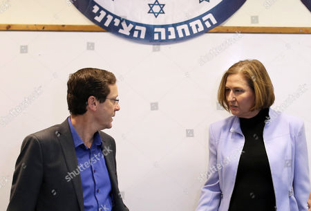 Isaac Herzog (l) and Tzipi Livni of the Zionist Union Party in Their Headquarters when They Make Statements on Their Party's Future Following Its Decisive Loss in the Israeli General Election to the Likud Party Led by Prime Minister in Tel Aviv Israel 18 March 2015 Both Said They Would Be Firmly in the Opposition to Netanyahu's 'Nationalist' Government and They Will Continue Fighting For Social Issues with Herzog Saying 'We Will Be a Worthy Real Alternative to the Narrow Radical Right Wing Government ' Israel Tel Aviv
