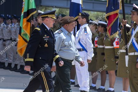 Chairman of the United States Joint Chiefs of Staff Gen Martin E Dempsey (l) Escorted by Israeli Chief of Staff Lieutenant General Gadi Eizenkot (r) Reviews an Israeli Honor Guard During a Ceremony at the Israeli Military Headquarters in Tel Aviv Israel 09 June 2015 Honoring Dempsey's Tenure As the Usa's Leading Military Officer As His Term Comes to a Close Dempsey Said There was No Country in the World Standing So Firmly Behind Israel Israel Tel Aviv