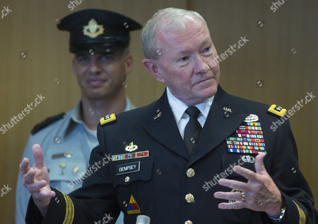 Chairman of the United States Joint Chiefs of Staff Gen Martin E Dempsey Speaking Inside Israel's Military Headquarters in Tel Aviv Israel 09 June 2015 During a Ceremony Honoring Dempsey's Tenure As the Usa's Leading Military Officer As His Term Comes to a Close Dempsey Said There was No Country in the World Standing So Firmly Behind Israel Israel Tel Aviv