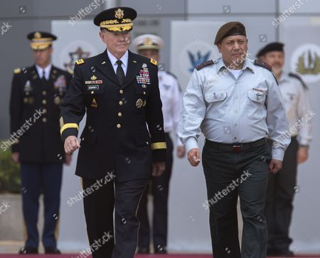 Chairman of the United States Joint Chiefs of Staff Gen Martin E Dempsey (l) Escorted by Israeli Chief of Staff Lieutenant General Gadi Eizenkot (r) As They Review an Honor Guard in a Ceremony in the Israeli Military Headquarters in Tel Aviv Israel 09 June 2015 Honoring Dempsey's Tenure As the Usa's Leading Military Officer As His Term Comes to a Close Dempsey Said There was No Country in the World Standing So Firmly Behind Israel Israel Tel Aviv