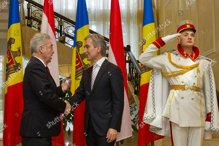 The President of Austria Heinz Fischer (l) Shakes Hands with the Prime Minister of Moldova Iurie Leanca (r) During the Second Day of His Official Visit in Chisinau Moldova 17 November 2014 Moldova, Republic of Chisinau