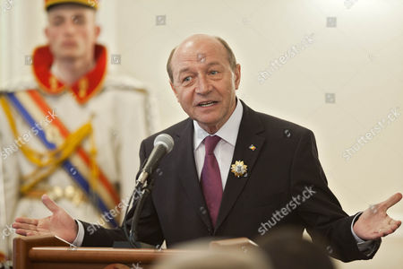 Former President of Romania Traian Basescu Delivers a Speech After He was Decorated by the President of Moldova Nicolae Timofti with the Order of 'Stefan Ce Mare' During His Visit in Chisinau Moldova 02 April 2015 Moldova, Republic of Chisinau