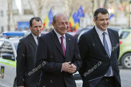 Former President of Romania Traian Basescu (c) Arrive For an Official Meeting During His Visit in Chisinau Moldova 02 April 2015 Basescu was Decorated by the President of Moldova Nicolae Timofti with the Order of 'Stefan Ce Mare' Moldova, Republic of Chisinau