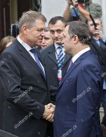Romanian President-elect Klaus Iohannis (l) Shake Hands with Vladimir Filat (r) Head of Liberal Democratic Party of Moldova During Iohannis's First Visit in Chisinau Moldova 28 November 2014 Iohannis Supports Moldova on It Pro-european Way Moldova, Republic of Chisinau