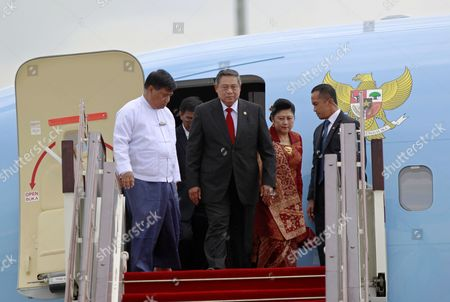 Stock Picture of Indonesia President Susilo Bambang Yudhoyono (c) and His Wife Ani Bambang Yudhoyono (cr) Walk out From the Aircraft As They Arrive Naypyitaw International Airport to Attend the Association of Southeast Asian Nations (asean) Summit in Naypyitaw 10 May 2014 Myanmar Hosts the 24th Asean Summit in Naypyitaw As the First Time Since Its Join the Asean Community in 1997 and Theme For Its Chairmanship of Asean is '' Moving Forward in Unity to a Peaceful and Prosperous Community '' Myanmar Yangon