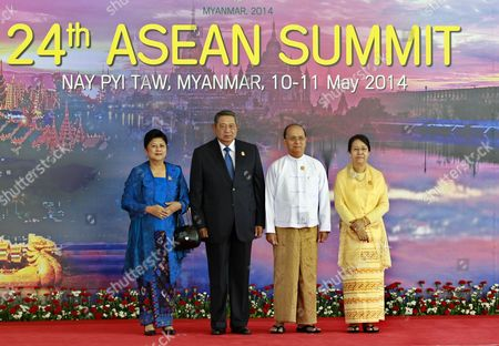 Indonesian President Susilo Bambang Yudhoyono (2-l) His Spouse Ani Bambang Yudhoyono (l) Myanmar President Thein Sein (2-r) and His Wife Khin Khin Win (r) Pose For a Photo Before the Opening Ceremony of the 24th Association of Southeast Asian Nations (asean) Summit in Naypyidaw Myanmar 11 May 2014 South-east Asian Foreign Ministers on Saturday Expressed 'Serious Concerns' About Ongoing Territorial Spats in the South China Sea Between Countries in Their Region and China Myanmar Hosts the Asean Summit in Naypyidaw For the First Time Since It Joined the Asean Community in 1997 and the Theme For Its Chairmanship of Asean is 'Moving Forward in Unity to a Peaceful and Prosperous Community' Myanmar Naypyidaw
