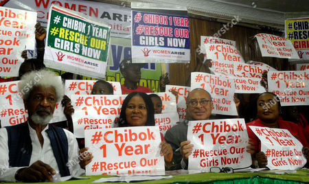 (l-r): Guest Speakers Noble Laureate Proffesor Wole Soyinka President Women Arise For Change Initiative Dr Joe Okei Odumakin Proffesor Pat Utomi and Nollywood Actress Foluso Daramola Attend the One Year Anniversary of Chibok Girls Abduction in Lagos Nigeria 14 April 2015 Islamic Militant Group Boko Haram who Have Been Waging a War of Terror in Nigeria For More Than Five Years Kidnapped More Than 220 Girls Last Year with Many of Them Still Remaining Missing Nigeria Lagos