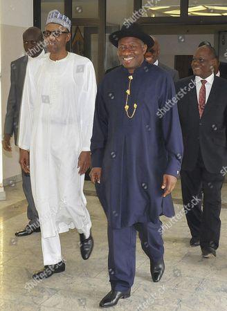 Outgoing Nigerian President Goodluck Jonathan (2-r) Walks with President-elect Muhammadu Buhari (2-l) at the Presidential Villa in Abuja Nigeria 28 May 2015 Muhammadu Buhari Will Be Inuagurated As President of Nigeria 29 May 2015 Nigeria Abuja