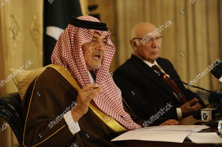 Saudi Arabian Foreign Minister Prince Saud Al Faisal (l) Speaks During a Press Conference with Pakistani Foreign Minister Sartaj Aziz (r) After Their Meeting in Islamabad Pakistan 07 January 2014 Saud Al Faisal is on a Two-day Official Visit to Pakistan to Discuss Issues of Mutual Interest and Regional Security Pakistan Islamabad