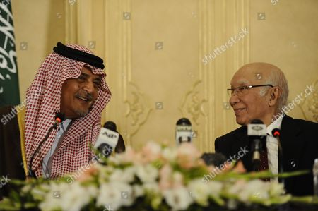 Saudi Arabian Foreign Minister Prince Saud Al Faisal (l) and Pakistani Foreign Minister Sartaj Aziz (r) During a Press Conference After Their Meeting in Islamabad Pakistan 07 January 2014 Saud Al Faisal is on a Two-day Official Visit to Pakistan to Discuss Issues of Mutual Interest and Regional Security Pakistan Islamabad