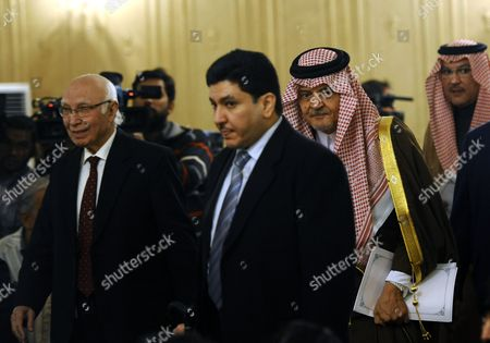 Saudi Foreign Minister Prince Saud Al Faisal (3-l) and Pakistani Foreign Minister Sartaj Aziz (l) Arrive to Attend a Joint News Conference After Their Meeting in Islamabad Pakistan 07 January 2014 Saud Al Faisal is on a Two-day Official Visit to Pakistan to Discuss Issues of Mutual Interest and Regional Security Pakistan Islamabad