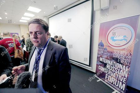 Nick Griffin Former Member of British Far-right British National Party Speaks to Media During the 'International Russian Conservative Forum' in St Petersburg Russia 22 March 2015 the Event Organized by Russian National Patriotic Union Rodina is a Pan-european Gathering of Far-right European Parties and Movements and Says One of the Forum Goals is the Establishment of a Movement to Unite the Conservative and Nationally-oriented Forces in Europe and Russia Griffin was Expelled From the British National Party in 2014 Russian Federation St.petersburg